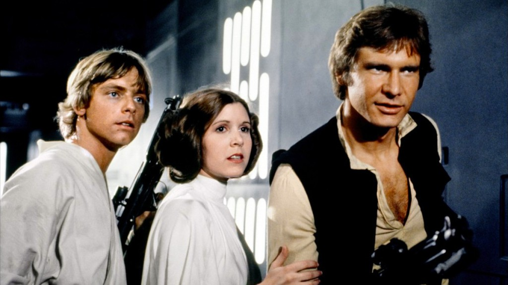 Mark Hamill, Carrie Fischer and Harrison Ford in Star Wars: A New Hope